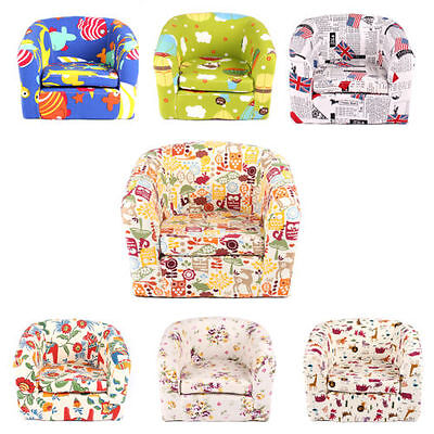 Kid Toddler Playroom Bedroom Cartoon Sofa Armchair Lounge Couch Wood Frame Gift