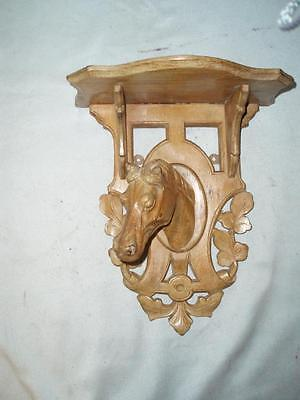 Antique Black Forest Treen Hand Carved Horse Heads Wall Hanging Shelf Rack. 1900
