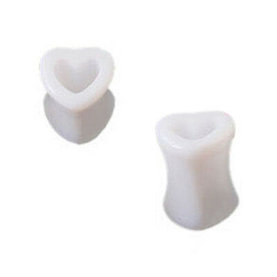 ET 1 Paar Acryl Hoehle Herz Ohr Tunnels Plugs Expansion 5 mm Weiss