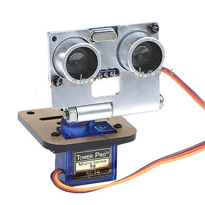 Silver HC-SR04 ULTRASONIC SENSOR KIT WITH SERVO AND RACK FOR ARDUINO ROBOT