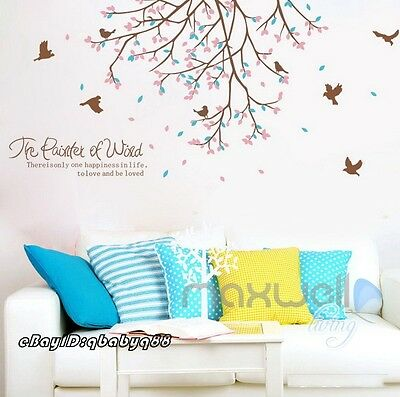 Color Leaves Bird Tree Branch Wall Stickers Decals Removable Kid Decor Art Mural