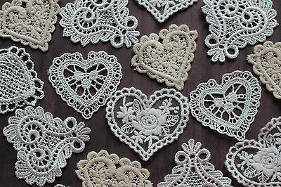 White Beige Ivory HEART Embroidered Lace Motifs Crafts Patch Appliques x 15