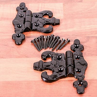 Pair Of Traditional Black Antique Country Door Hinges 89mm Fancy/Olde English