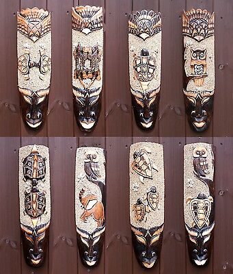 Wooden Tribal Mask Hand Carved African Ethnic Wall Mask 50cm TikiBar Decor