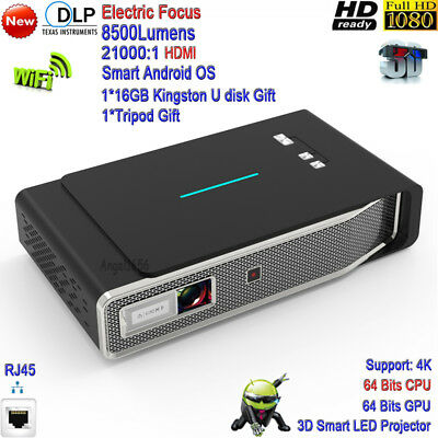 2019 Android 4K HD DLP 8500Lumens 3D Theater Projector WiFi Portable Cinema HDMI