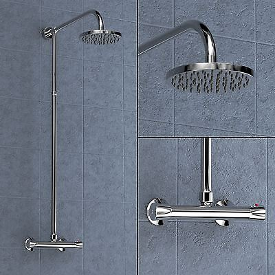 Berwick Round Wall Mounted Exposed Thermostatic Shower Mixer Chrome Bathroom
