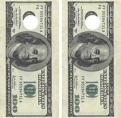 Hundred Dollar Bill Cornhole Board Skin Wrap Decal Set FREE SQUEEGEE
