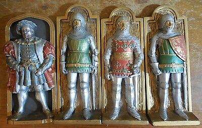 4 handmade in England chalkware relief wall plaques by Marcus Replicas KNIGHTS!