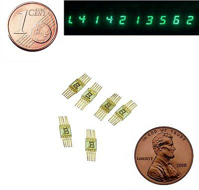 10x  Vintage 7-seg Green LED Display Common Cathode SEL620 Gold Pins