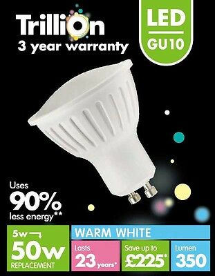 Trillion LED GU10 Bulb 350lm 90 Warm White 5w + Tape Measure