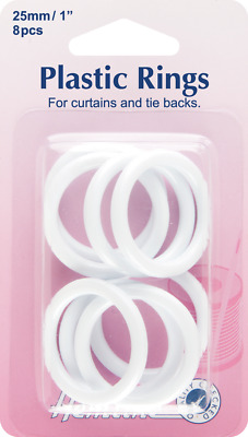NEW Hemline H471.25 | White Plastic Curtain Rings | 25mm x | 8 pieces FREE POST