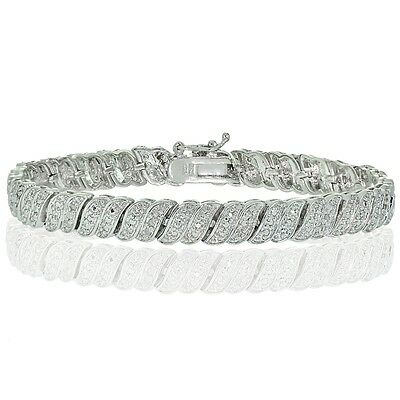 0.25ct  Natural Diamond Wave Link Tennis Bracelet in Silver Plated Brass