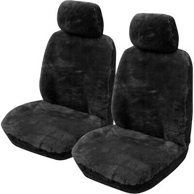 Gold Cloud Sheepskin Seat Covers - Black, Adjustable Headrests, Size 30, Fron...