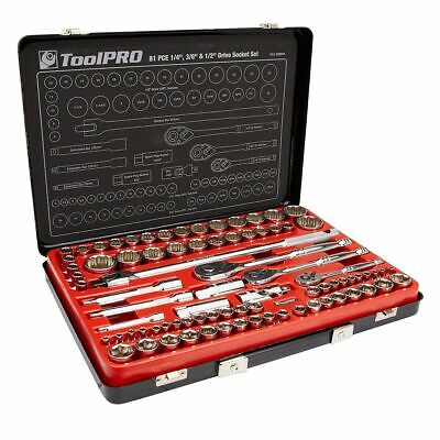"ToolPro Socket Set - 1/4""/3/8""/1/2"", Metric/Imperial, 81 Piece"