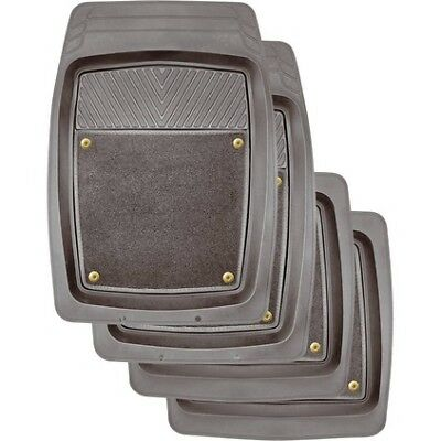 SCA Premium Combo Floor Mats - Grey, Set of 4, Removable Carpet