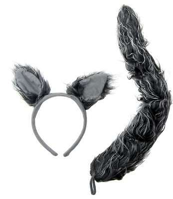 Wolf Ears and Tail Set  Gray Wolf Costume Accessories Big Bad Wolf Ears and Tail