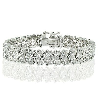 Silver Tone 1.00ct Natural Diamond Miracle Set Chevron Tennis Bracelet in Brass