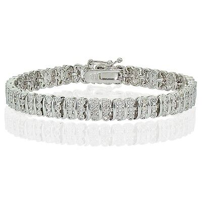 0.25ct TDW Natural Diamond S Tennis Bracelet in Silver Plated Brass