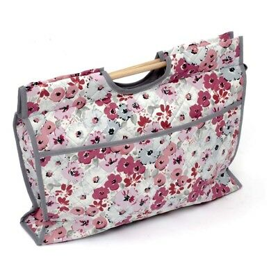 NEW | Hobby Gift HGCB/145 | CRAFT BAG Pink/Grey Bouquet on White | 11x43x33½cm