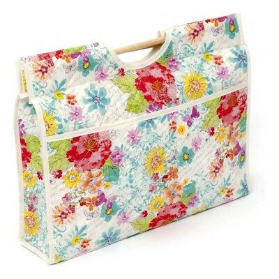 Hobby Gift HGCB/146 | CRAFT BAG Floral Brights on White | 11x43x33½cm FREE POST