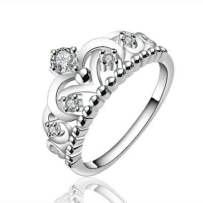 Women 925 Sterling Silver Filled Crystal Queen Princess Crown Band Ring Jewelry