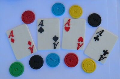 24pc edible POKER CASINO LAS VEGAS cake decorations CUPCAKE TOPPER chips CARDS