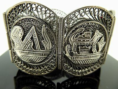 Vintage 1960's Filigree Egyptian Revival 6 Panel Scene 800 Silver Bracelet Sz 7