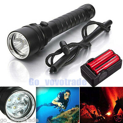 Zoomable 8000Lm CREE XM-L2 T6 LED Underwater 100M Scuba Diving Flashlight Torch