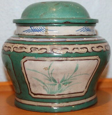 Rare Old Antique Chinese Green Glazed Red Clay Hand Painted Tea Caddy Jar