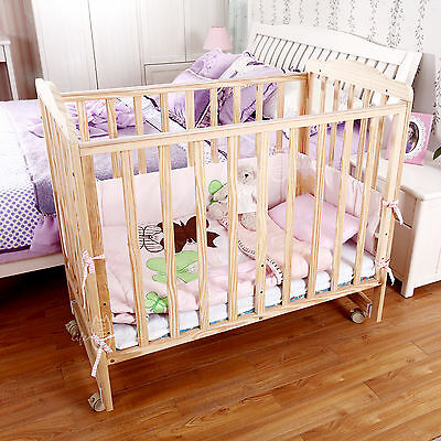 Emall Life Wooden Baby Cot Crib Toddler Cradle Bed Pine Wood Adjustable Height