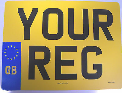 SQUARE REAR GB BADGE REGISTRATION PLATE  4 x 4 NUMBER PLATE 11 x 8  FREEPOST