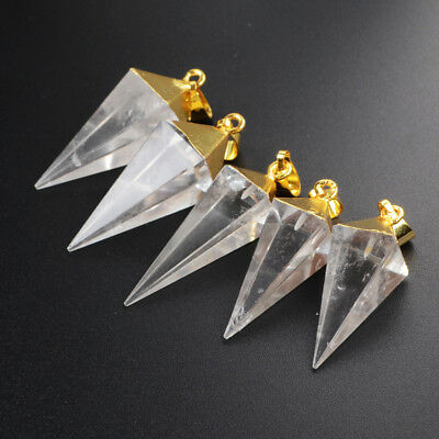 1Pcs Natural Clear Quartz Octahedron Pyramid Point Gold Plated Pendant HG1006