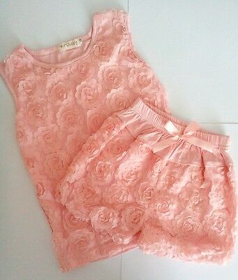 Girls peach flower shorts & top outfit/ pyjamas S/M/L