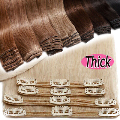 Thick Clip In Remy Human Hair Extensions Double Weft Full Head Long 200g US N322