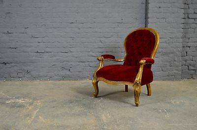 Vintage Antique Edwardian Style Lounge Nursing Chair Red Velour Upholstery