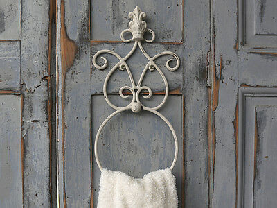 Cream Ivory Beige Vintage Wall Mounted Towel Holder In French Antique Style