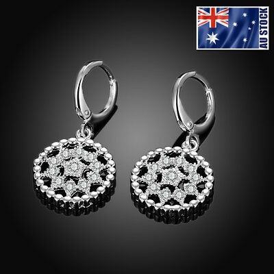 New 925 Sterling Silver Filled Crystal Filigree Flower Drop Dangle Hoop Earrings