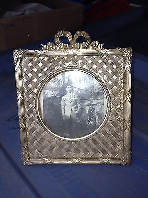"Early 5"" Ornate French Brass Frame"