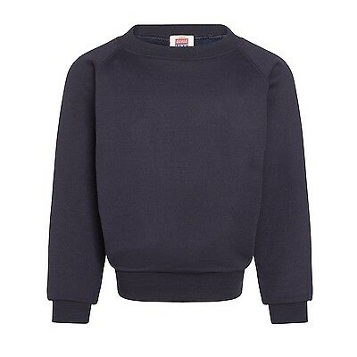 Plain Navy Sweatshirt Children Boys Girls Sizes PolyCotton by David Luke UK Made