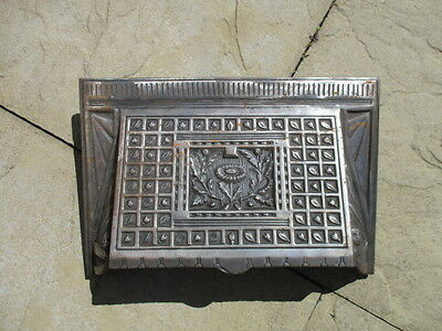 Vintage Cast Iron Fire Hood Architectural Antique Old Floral Fireplace