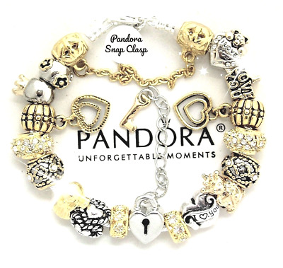 Pandora Charm Bracelet Silver with Gold Tone Crown Wife Mom European Charms New