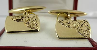 REDUCED Vintage Patterned 9ct Yellow Gold Gents CUFFLINKS Hm 5gr