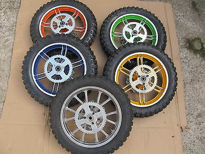Mini dirt bike mini moto complete rear wheel sprocket disk 7 colours available