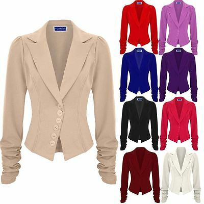 Womens Ruched Sleeve Tailored Slim Fit Button Up Padded Office Blazer Jacket