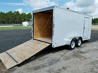 7x16 7 x 16  Enclosed Trailer Cargo V-Nose Ramp Motorcycle Utility 14 18 2018