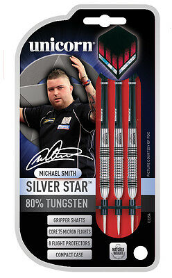 UNICORN MICHAEL SMITH SILVER STAR TUNGSTEN DARTS SET, 22-30 grams 'BULLY BOY'