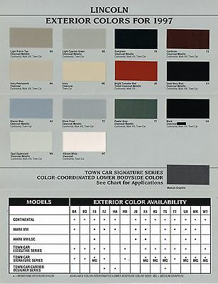 1997 LINCOLN COLOR Chip CHART Paint Brochure:CONTINENTAL,TOWN CAR,MARK VIII,LSC
