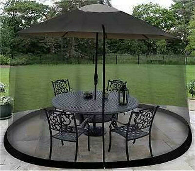 9' Outdoor Umbrella Table Screen Black Insects Mosquitoes Safe Bugs Screened