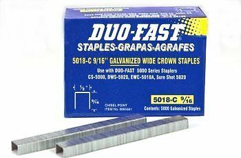 Duo Fast 5018C 20 Gauge Galvanized Staple 1/2-Inch Crown x 9/16-Inch