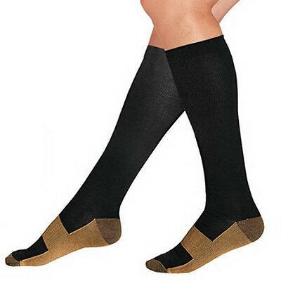 New Miracle Copper Socks Anti Fatigue Compression black UNISEX with box